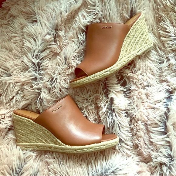 0aa6aa013e5 COACH Gayle Espadrille Wedge Sandal, 7 in Saddle