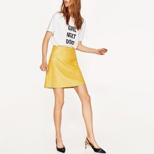NWT Zara Yellow Faux leather Skirt