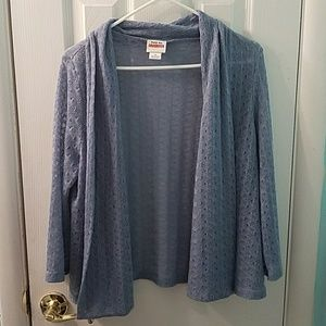 Ruby Rd. NWOT Blue open front knit cardigan