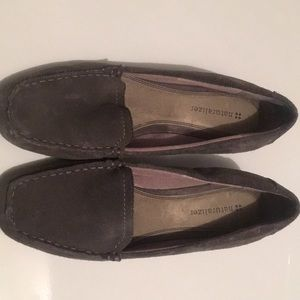Grey suede barely worn wedge loafers