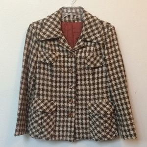 Vintage brown houndstooth coat
