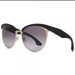 Miu Miu 56mm black & gold pave cat eye sunglasses