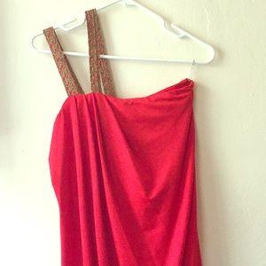👗 Badgley Misha Red & Gold Cocktail Dress
