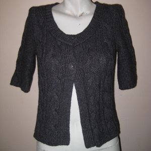 American Eagle Gray Cable Knit Cardigan Sweater