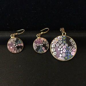 Antics Mirrina Venezia earring/Pendant Murano set