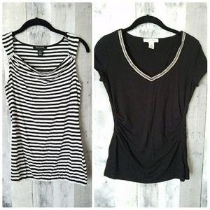 WHBM bundle black white blouses XS