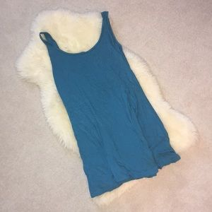 Blue Short Tank Dress With Lower Back