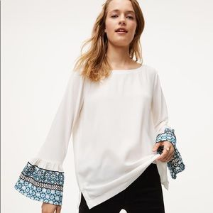 LOFT bell-sleeve top with embroidery - NWOT