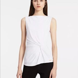 NWT Calvin Klein Women White Side Rouched Top S