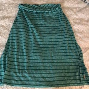 Lucy Green Striped Casual Skirt euc