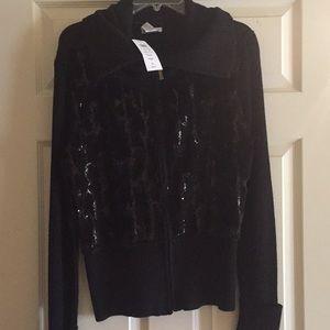 Fur front zipper sweater.