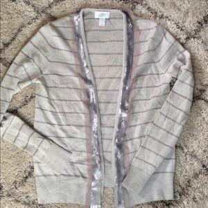 LOFT striped sparkle open cardigan size S