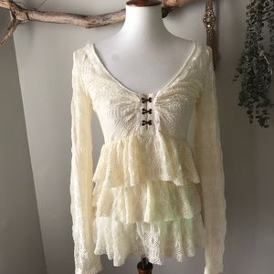 Free People Ivory Lace Tiered Top