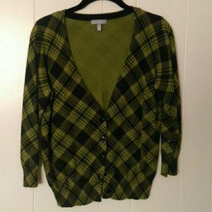 Green plaid cardigan