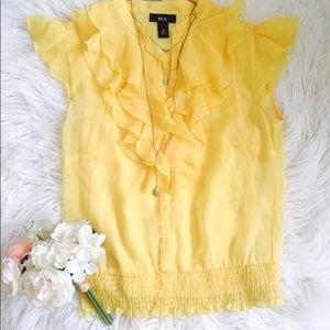 Yellow Ruffle V Neck Blouse