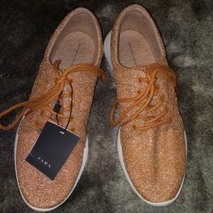 Zara gold glitter shoes