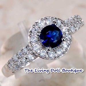 1CT Blue Sapphire & White Topaz SOLID 925 Ring!!