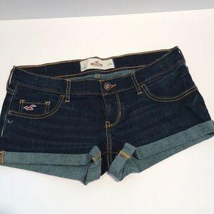 Hollister dark blue wash short shorts.