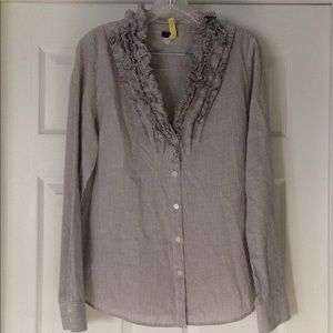 J. Crew Factory striped ruffle front blouse size L