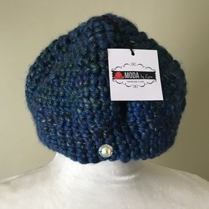Handmade Blue Beanie Hat New