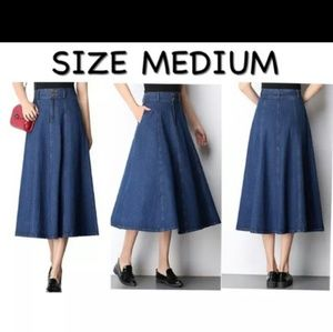 NEW High Waist Denim Maxi Skirt
