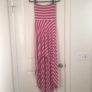 Bebe high/low pink and white striped dress
