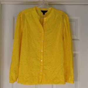 J. Crew eyelet button up citrus shirt size 6