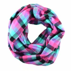 $28 Black Pink Teal Plaid Infinity Women Scarf
