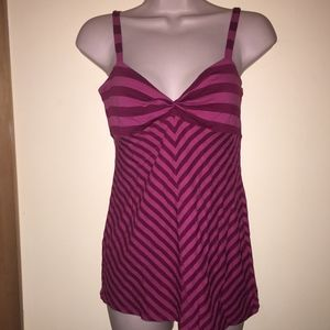 ELLA MOSS striped pink adj strap top/NWT