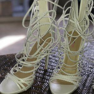 White tie up heels