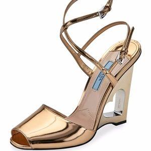 Prada Gold Leather Heart Wedge Peep-Toe Sandal