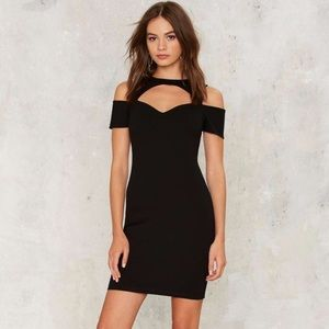 Nasty Gal little black dress with sweetheart cut