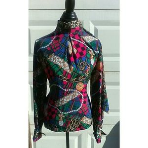 Colorful Vintage Blouse With Bow Tie In The Back