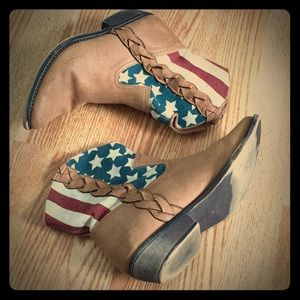 American Flag Cowboy Booties Size 8.5
