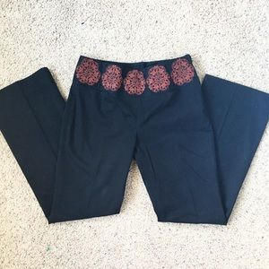 Anthropologie Black Embroidered Pants
