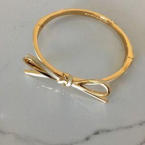 Kate Soadd Gold and Cream Bow Bangle Bracelet