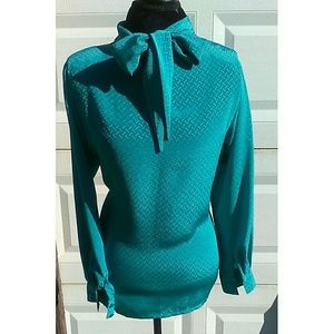 Teal Color Vintage Bow Blouse
