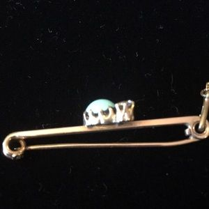 Jewelry - Antique turquoise & diamond pin marked 15CT