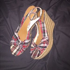 Plaid wedge rope sling backs