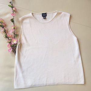 Eileen Fisher Cream 100% Merino Wool Top 💜 Small