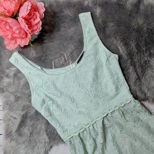 B DARLIN • lace overlay high low dress mint green