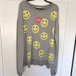 Wildfox All Smiles Barefoot sweater Sz L NWT
