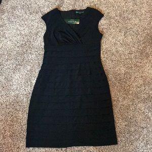 NWT Ralph Lauren Black Ruffled Dress size8
