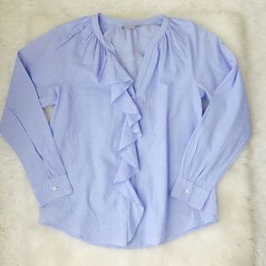 LOFT Cotton Button Down Shirt With Ruffles Sz S