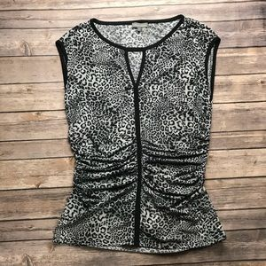 Vince Camuto Womens Sleeveless Animal Print Top S