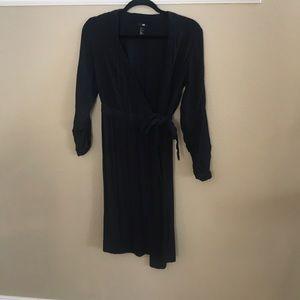 H&M long sleeve navy wrap dress size 4