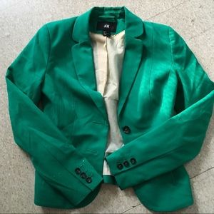 {h&m} Kelly green long sleeve button blazer 2
