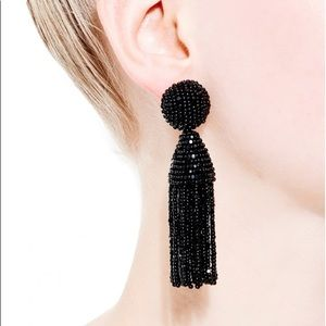 Oscar De La Renta short black tassel earrings