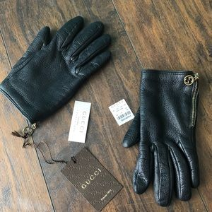 Gucci leather gloves XS with Gucci logo on zipper