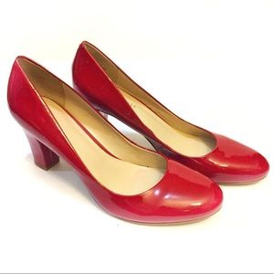 NEW Nine West Red Patent Leather Chunky Heels